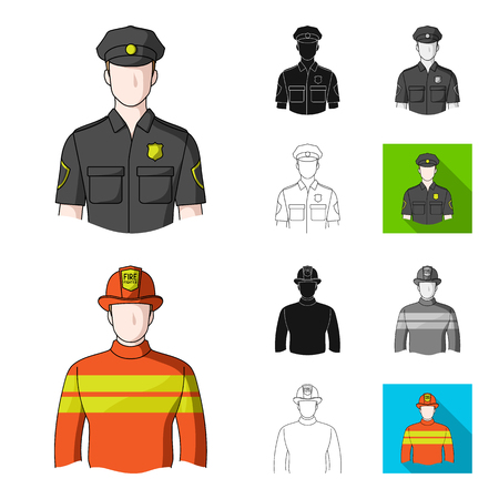 People of different professions cartoon outline icons