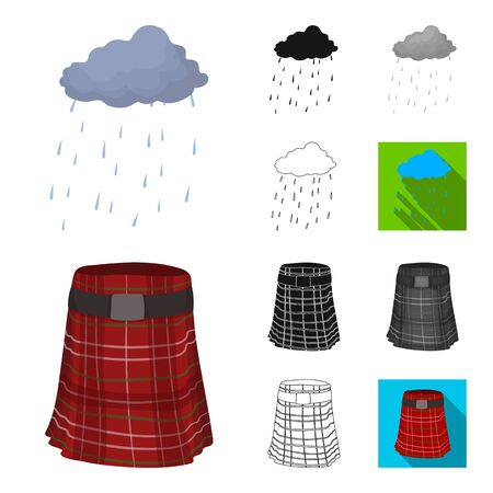 Country Scotland cartoon,black,flat,outline icons in set collection for design. Sightseeing, culture and tradition vector symbol stock web illustration.