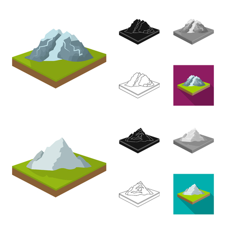 Mountains, massive cartoon,black,flat,outline icons in set collection for design. The surface of the earth vector isometric symbol stock web illustration. Иллюстрация