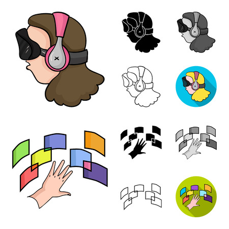 A virtual reality cartoon,black,flat,outline icons in set collection for design. Modern technology and equipment vector symbol stock web illustration.