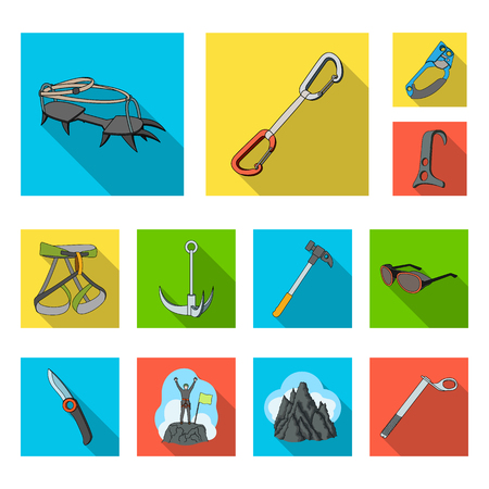 Mountaineering icons in set collection for design. Equipment and accessories vector symbol stock web illustration. Reklamní fotografie - 99062814
