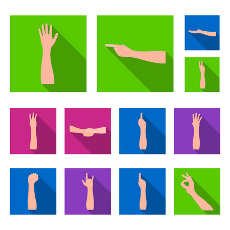 Gestures and their meaning flat icons in set collection for design.Emotional part vector symbol stock web illustration.