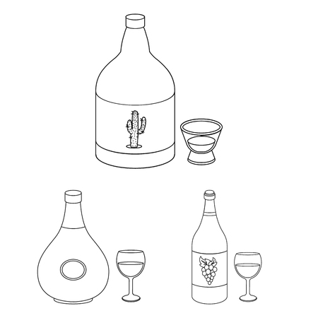Types of alcohol outline icons in set collection for design. Alcohol in bottles vector symbol stock web illustration. Ilustrace