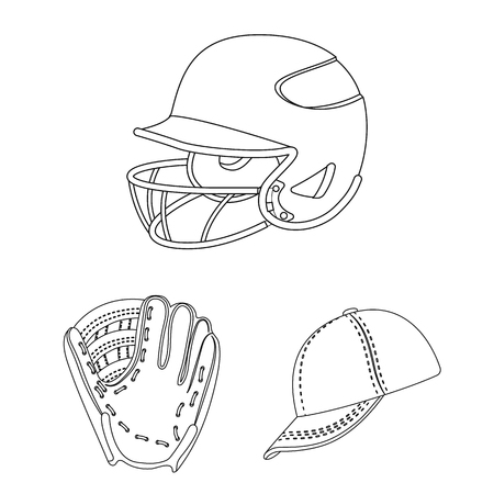 Baseball and attributes outline icons in set collection for design.Baseball player and equipment vector symbol stock  illustration.