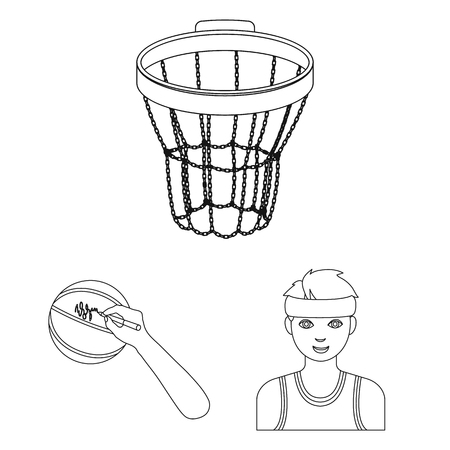 Basketball and attributes outline icons in set collection for design. Basketball player and equipment vector symbol stock illustration. 일러스트