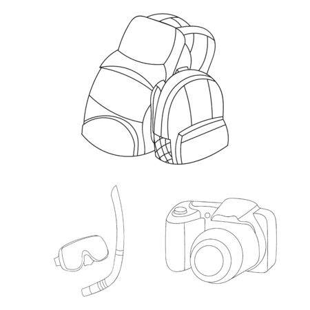 Bags, goggles and a camera outline icons in set collection design. Иллюстрация