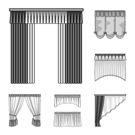 Different kinds of curtains monochrome icons in set collection design. Illustration