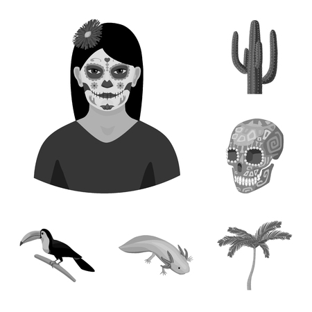Country Mexico monochrome icons in set collection for design. Mexico and landmark vector symbol stock  illustration.  イラスト・ベクター素材