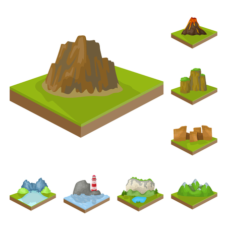 Mountains cartoon icons in set collection design. 矢量图像