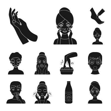 Skin care women's faces black icons in set collection design. Illustration