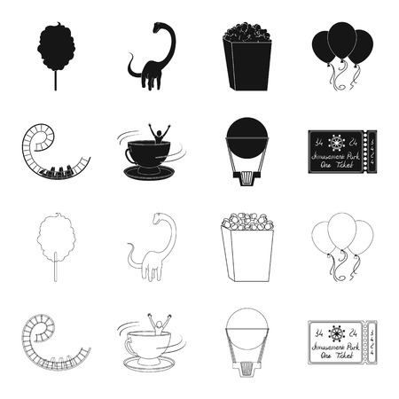 Roller coaster ride, balloon with basket, caruelle cup, ticket to the entrance to the park. Amusement park set collection icons in black,outline style vector symbol stock illustration .