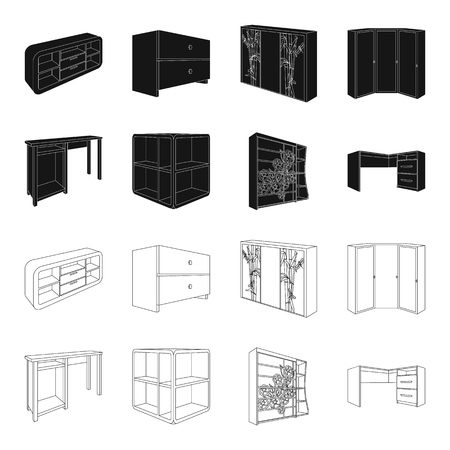 Illustration of a dressing table, corner shelves, computer desk and wardrobe with glass set collection icons in black and outline style