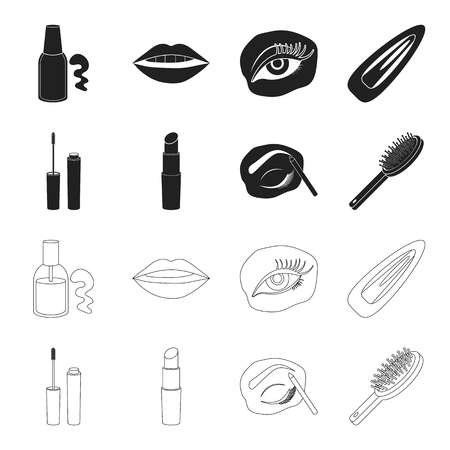 Mascara, hairbrush, lipstick, eyebrow pencil,Makeup set collection icons in black,outline style vector symbol stock illustration . Illusztráció