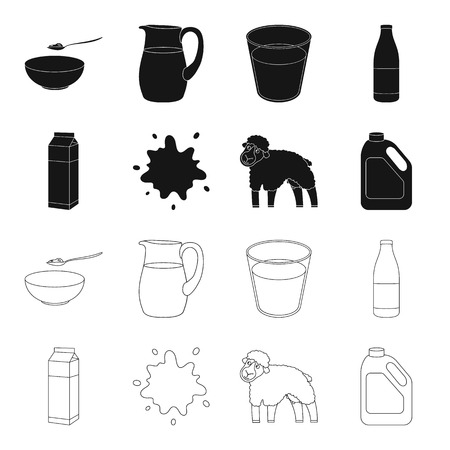 Billet pack, sheep.blue, canister.Moloko set collection icons in black,outline style vector symbol stock illustration .