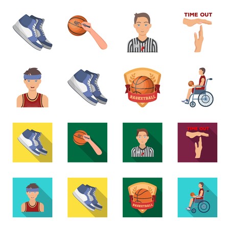 Basketball and attributes cartoon,flat icons in set collection for design.Basketball player and equipment vector symbol stock  illustration.
