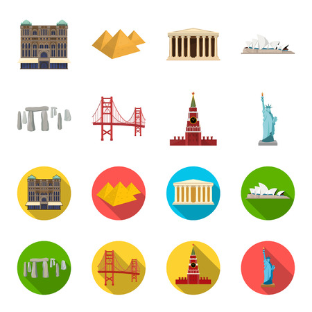 Sights of different countries cartoon,flat icons in set collection for design. Famous building vector symbol stock web illustration. 일러스트