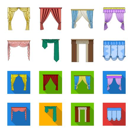 Curtains set collection icons in cartoon and flat style