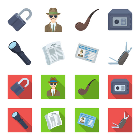 Flashlight, newspaper with news, certificate, folding knife. Detective set collection icons in cartoon, flat style vector symbol stock illustration web. Illustration