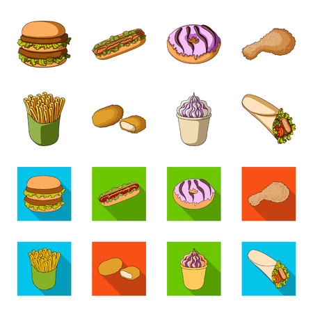 Food, refreshments, snacks and other web icon in cartoon,flat style. Packaging, paper, potatoes icons in set collection.