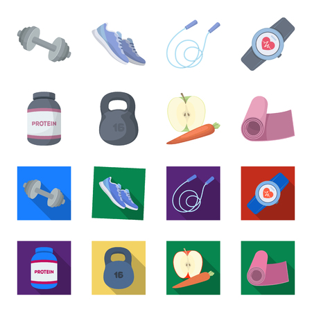 Protein, vitamins and other equipment for training. Gym and workout set collection icons in cartoon, flat style vector symbol stock illustration web.