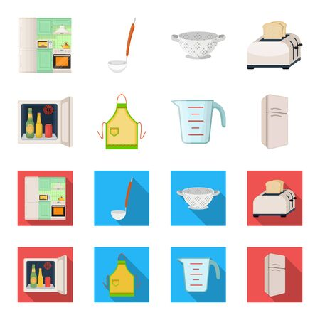 Kitchen equipment cartoon, flat icons in set collection for design. Kitchen and accessories vector symbol stock web illustration.