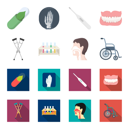 Crutch, test tubes, wheelchair and  human respiratory system set collection icons in cartoon and flat style