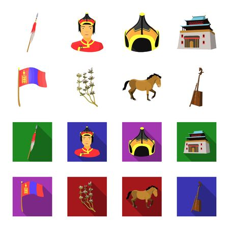 National flag, horse, musical instrument, steppe plant. Mongolia set collection icons in cartoon,flat style vector symbol stock illustration web.