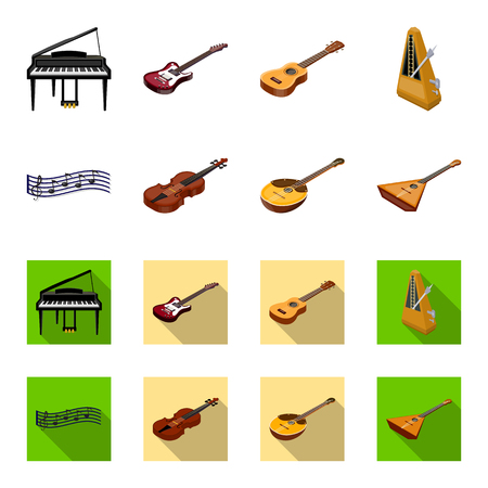 Musical instrument cartoon,flat icons in set collection for design. String and Wind instrument isometric vector symbol stock web illustration.