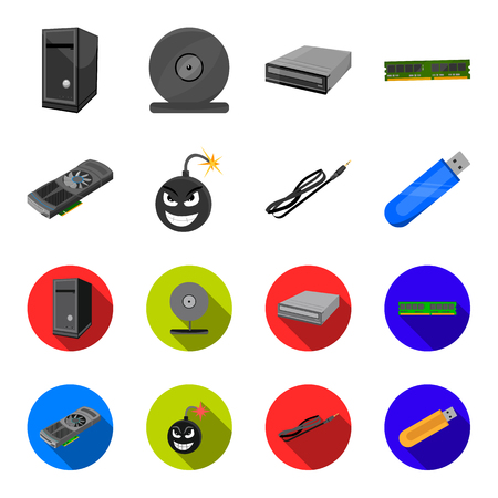 Video card, virus, flash drive, cable. Personal computer set collection icons in cartoon,flat style vector symbol stock illustration web.