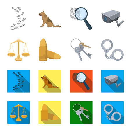 Scales of justice, cartridges, a bunch of keys, handcuffs set collection icons in cartoon and flat style