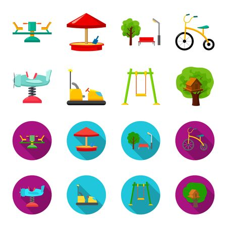 Playground elements set collection icons in cartoon and flat style Illustration