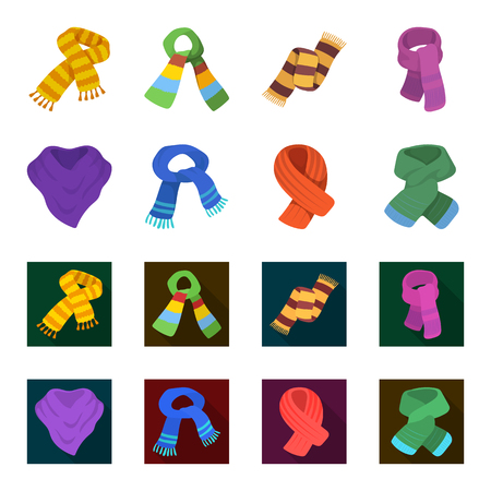 Various kinds of scarves, scarves and shawls. Scarves and shawls set collection icons in cartoon,flat style vector symbol stock illustration web.