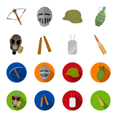 Masks, hats and weapons set collection icons in cartoon and flat style Ilustração