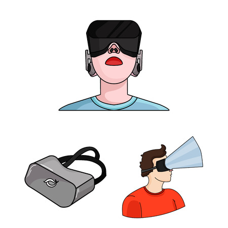 A virtual reality cartoon icons in set collection for design. Modern technology and equipment vector symbol stock illustration. 向量圖像