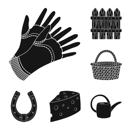Farm and gardening black icons in set collection for design. Farm and equipment vector symbol stock  illustration. Illustration
