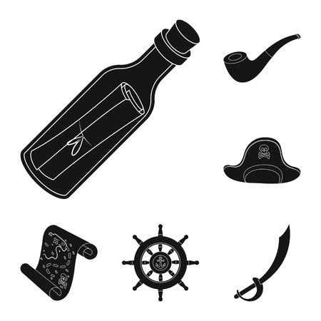 Pirate sets images on silhouette black with white background illustration.