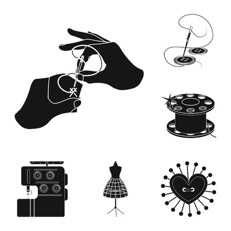 Atelier and equipment black icons in set collection for design. Sewing of outer clothing vector symbol stock  illustration. Illustration