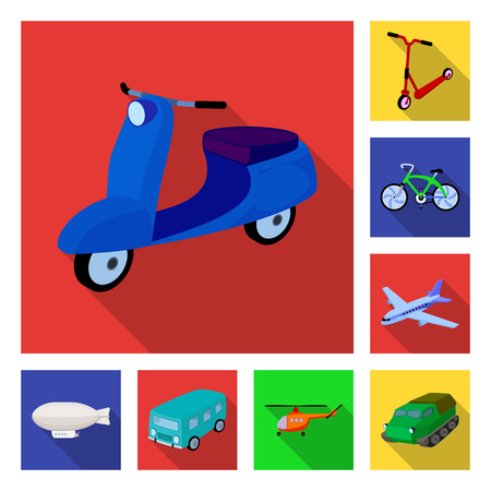 Different types of transport flat icons in set collection for design. Car and ship vector symbol stock illustration. Archivio Fotografico - 99063642