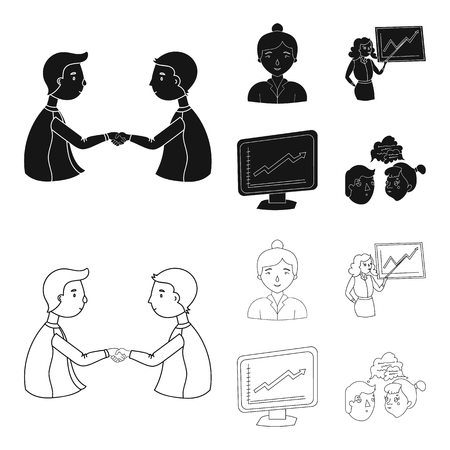 Businesswoman, growth charts, brainstorming. Business-conference and negotiations set collection icons in black. Фото со стока - 99065725
