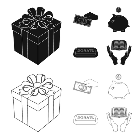 Hand with money for poshestvovaniya, a piggy bank for charity, a button with an inscription, a book for the blind in their hands. Charity and donation set collection icons in black,outline style vector symbol stock illustration .