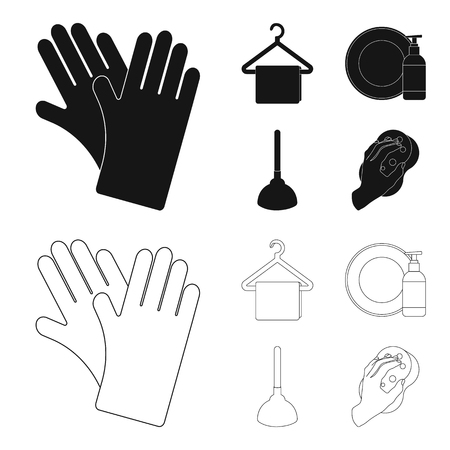 Cleaning and maid black,outline icons in set collection for design. Equipment for cleaning vector symbol stock  illustration.