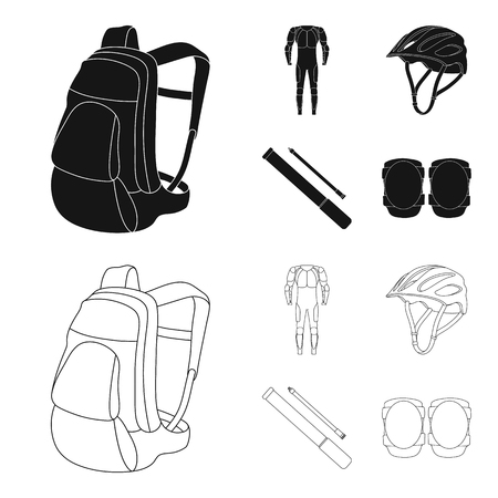 Full-body suit for the rider, helmet, pump with a hose, knee protectors.Cyclist outfit set collection icons in black,outline style vector symbol stock illustration .