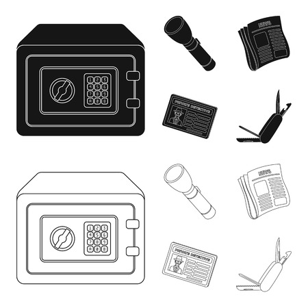 Flashlight, newspaper with news, certificate, folding knife.Detective set collection icons in black,outline style vector symbol stock illustration .