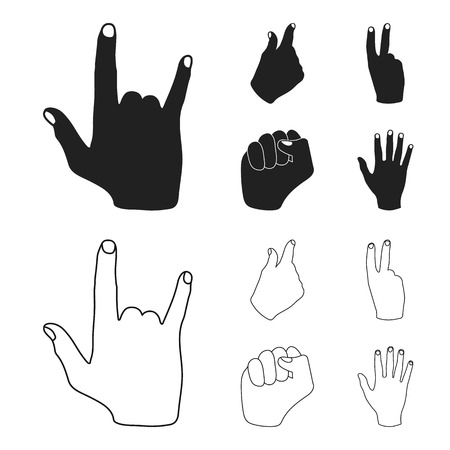 Hand gesture set collection icons in black,outline style vector symbol stock illustration web. Illusztráció