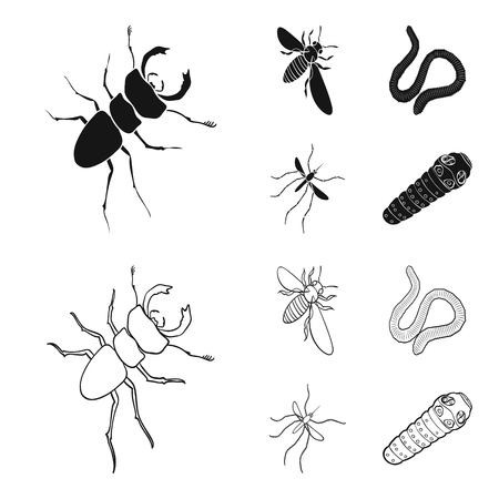 Earth worm, caterpillar, vermicular set collection icons in black, outline style vector symbol stock isometric illustration web.