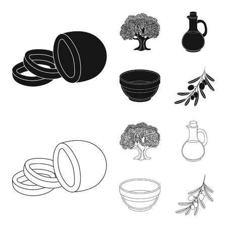 Olives set collection icons in black, outline style vector symbol stock illustration.