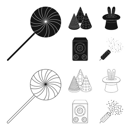 Party set collection icons in black, outline style vector symbol stock illustration.