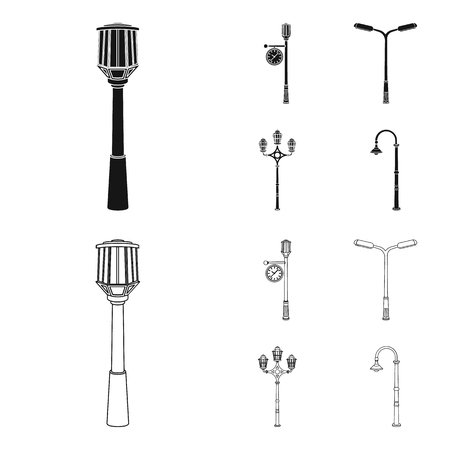 Lamppost set collection icons in black, outline style vector symbol stock illustration.