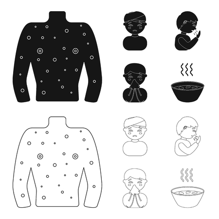 Sick set collection icons in black, outline style vector symbol stock illustration.