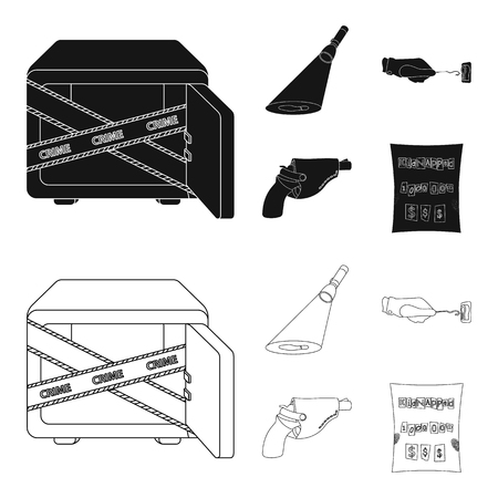 The detective flashlight illuminates the footprint, the criminal hand with the master key, a pistol in the holster, the kidnapper claim. Crime and detective set collection icons in black,outline style vector symbol stock illustration web.